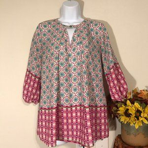 Peach Love California Boho 3/4 Sleeve Tunic Top